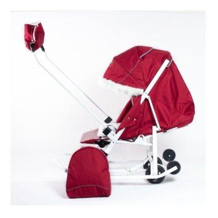 Санки-коляски Pikate Снеговик «Бордо» (материал «Oxford» плотностью 600 D, овчина, 3 положения спинки, краска рамы белый)